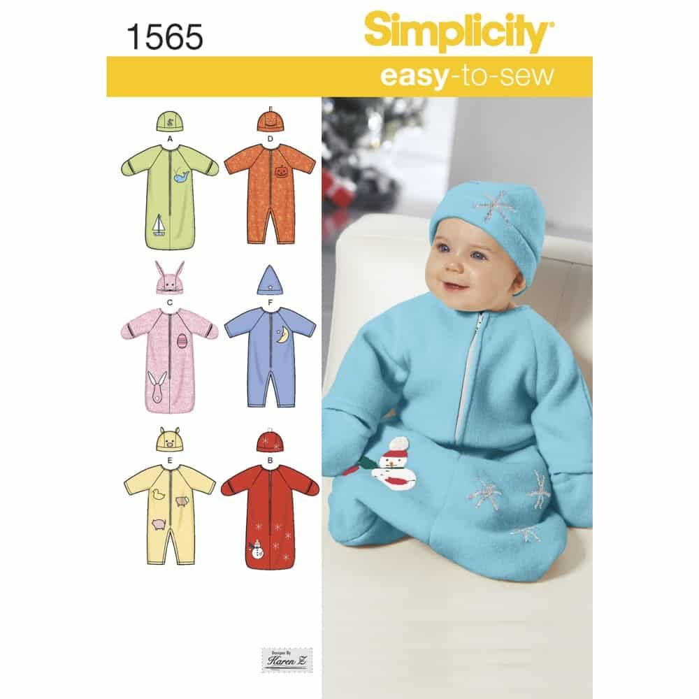 Simplicity Sewing Pattern 1565 Babies Bunting, Romper and Hats