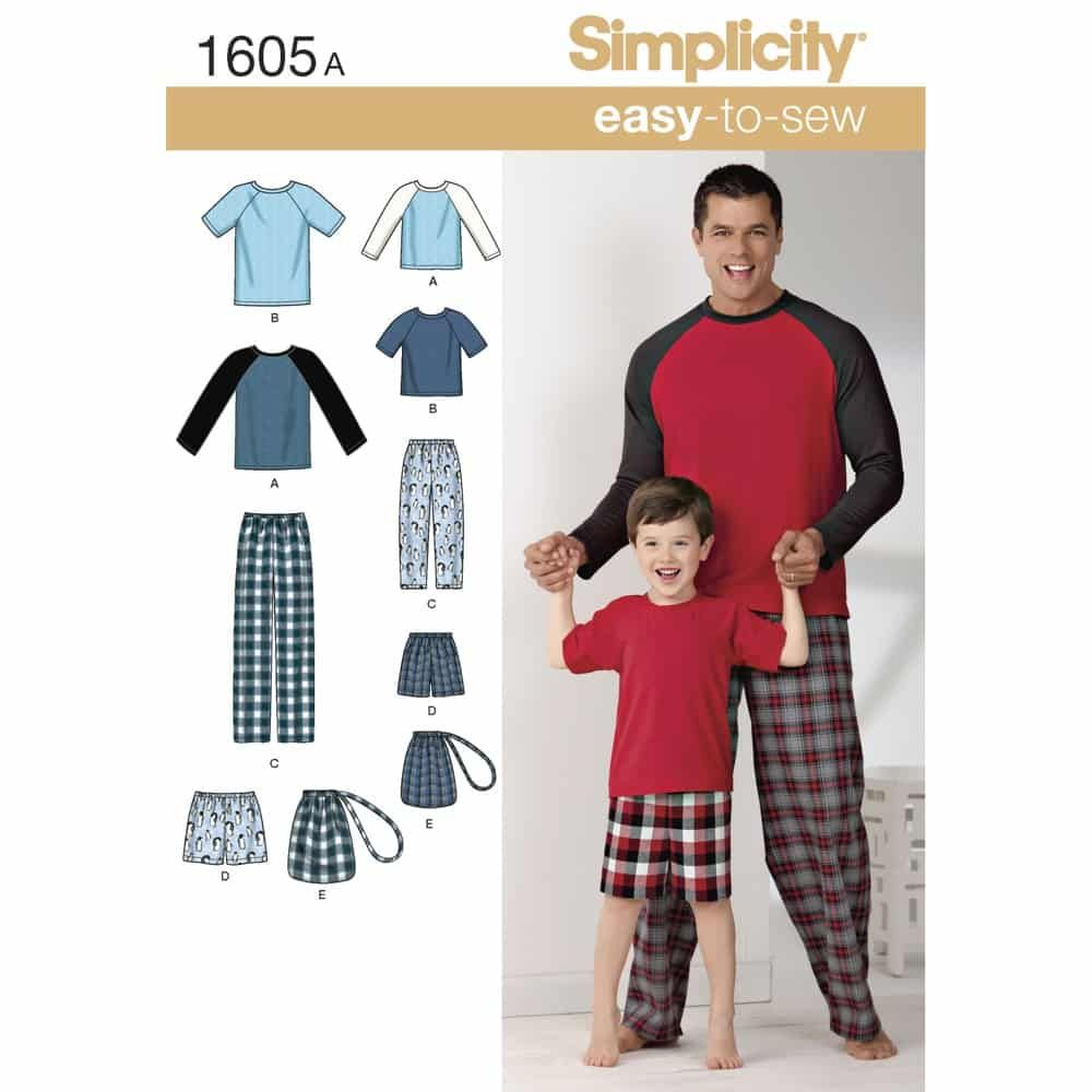 Simplicity Sewing Pattern 1605 Boys and Mens Loungewear