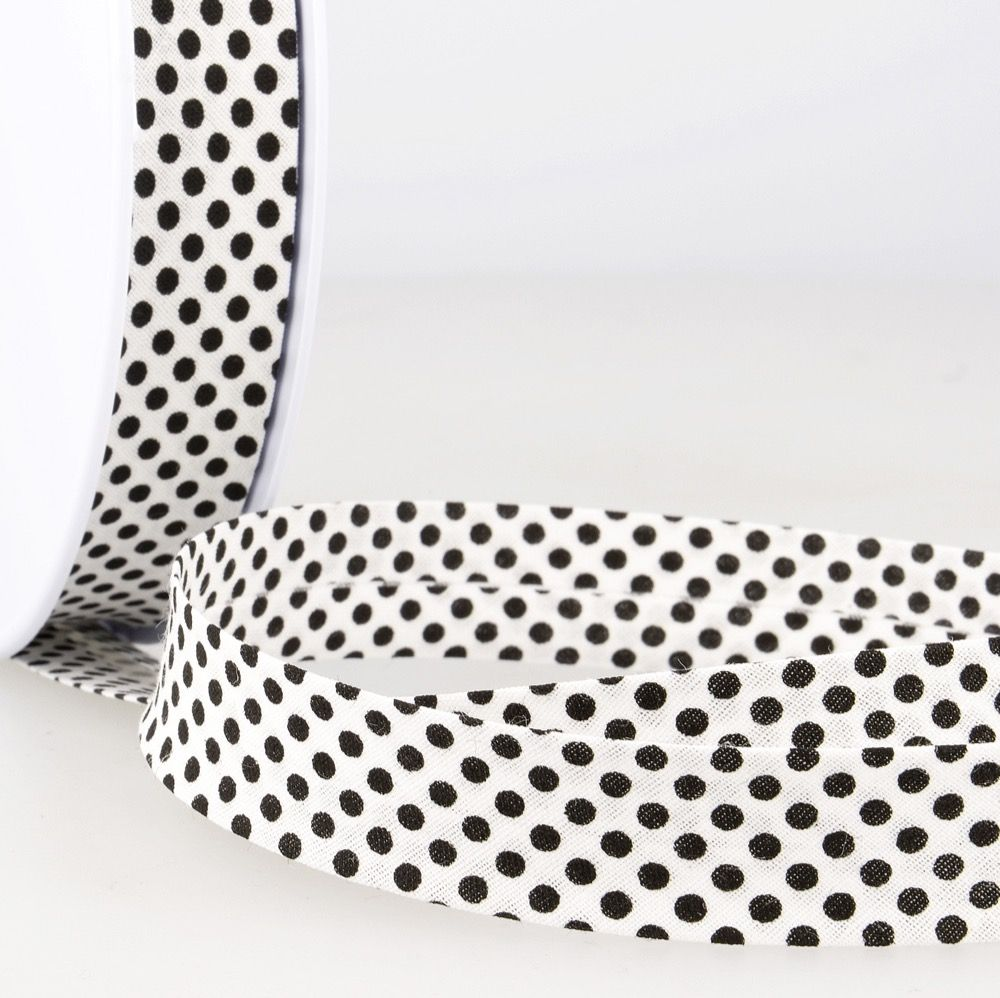 La Stephanoise 20mm Cotton Bias Binding - Black Dots On White