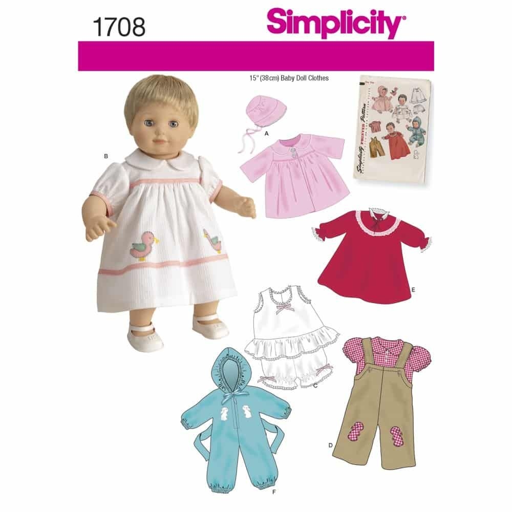 Simplicity Sewing Pattern 1708 15inch Baby Doll Clothes
