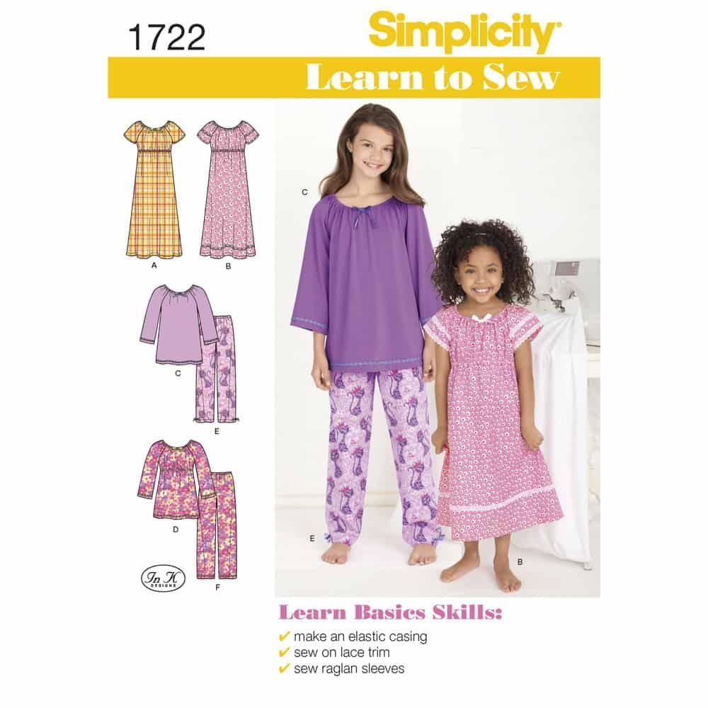 Simplicity Sewing Pattern 1722 Learn to Sew Childs and Girls Loungewear