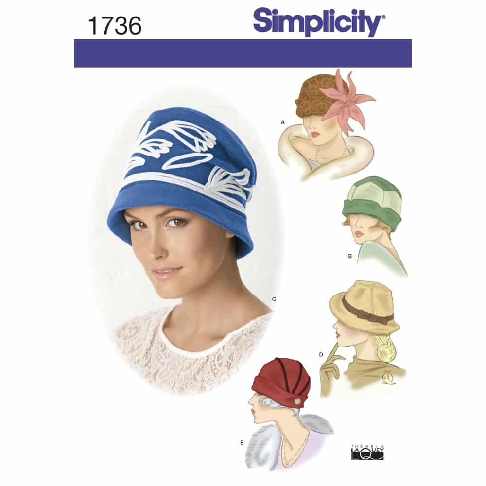 Simplicity Sewing Pattern 1736 Misses hats in three sizes