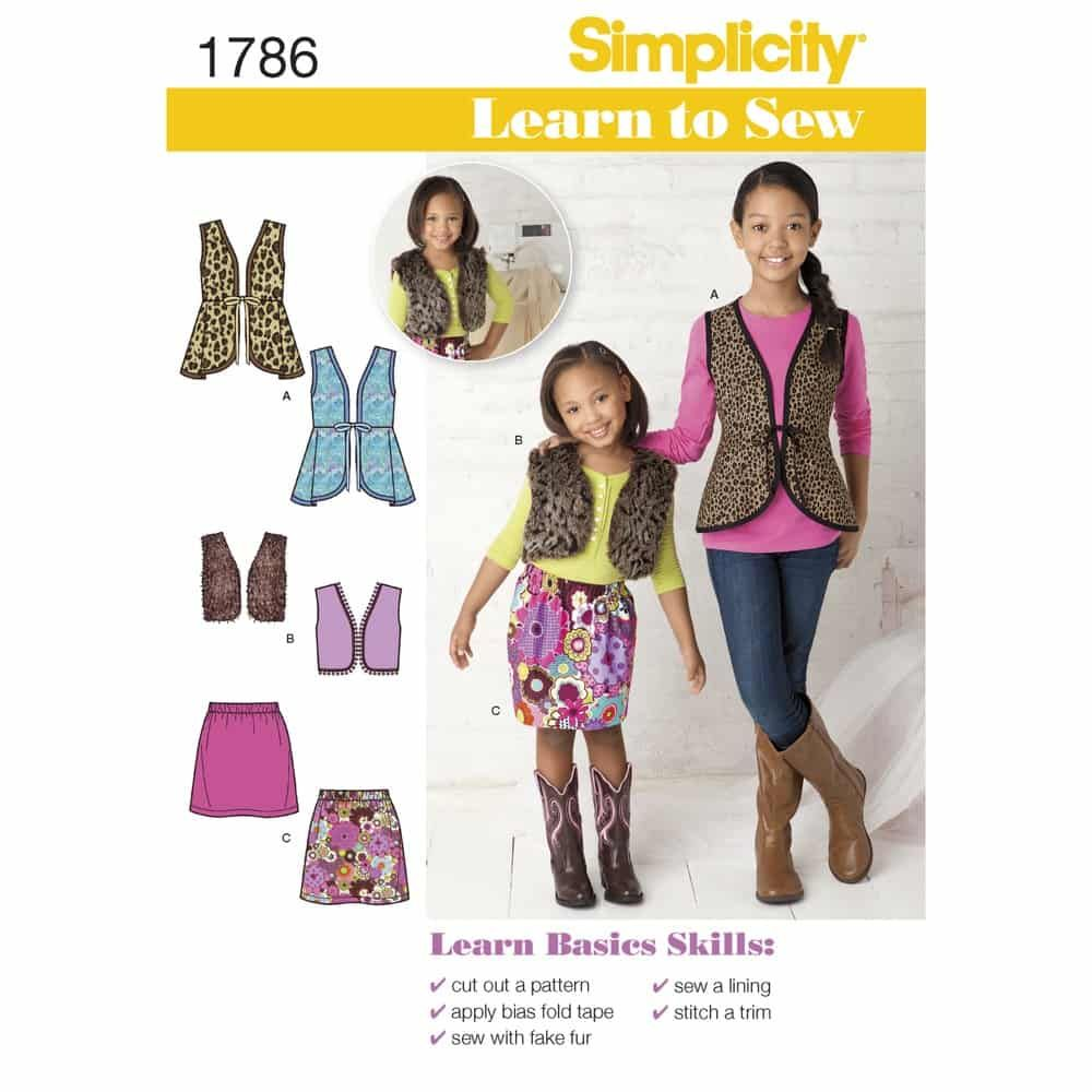 Simplicity Sewing Pattern 1786 Learn to Sew Childs & Girls  Sportswear