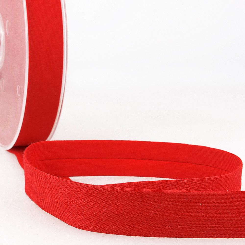 Stephanoise Plain Cotton Jersey Bias Binding - 20mm Wide - Red