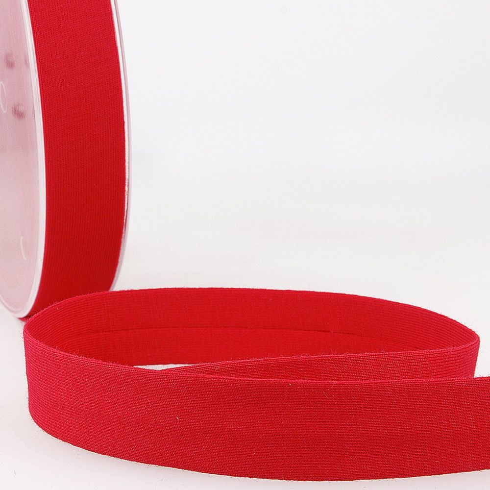 Stephanoise Plain Cotton Jersey Bias Binding - 20mm Wide - Scarlet