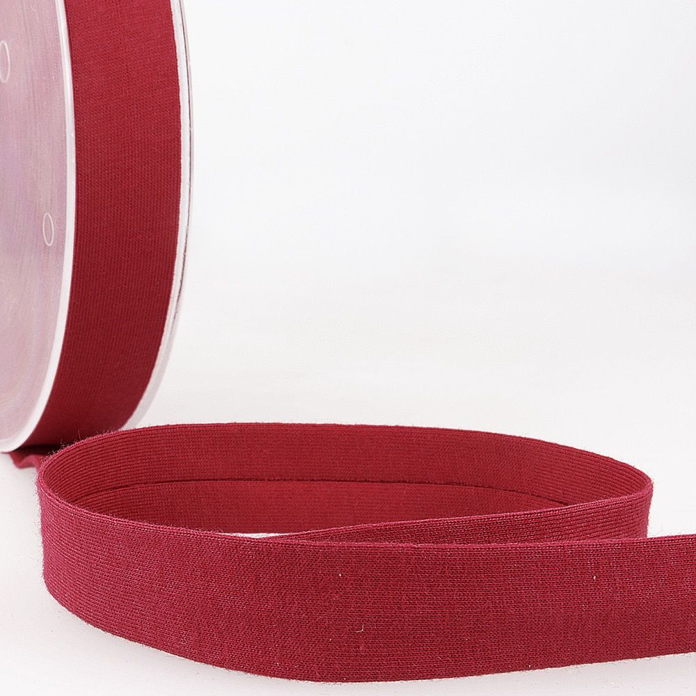 Stephanoise Plain Cotton Jersey Bias Binding - 20mm Wide - Burgundy
