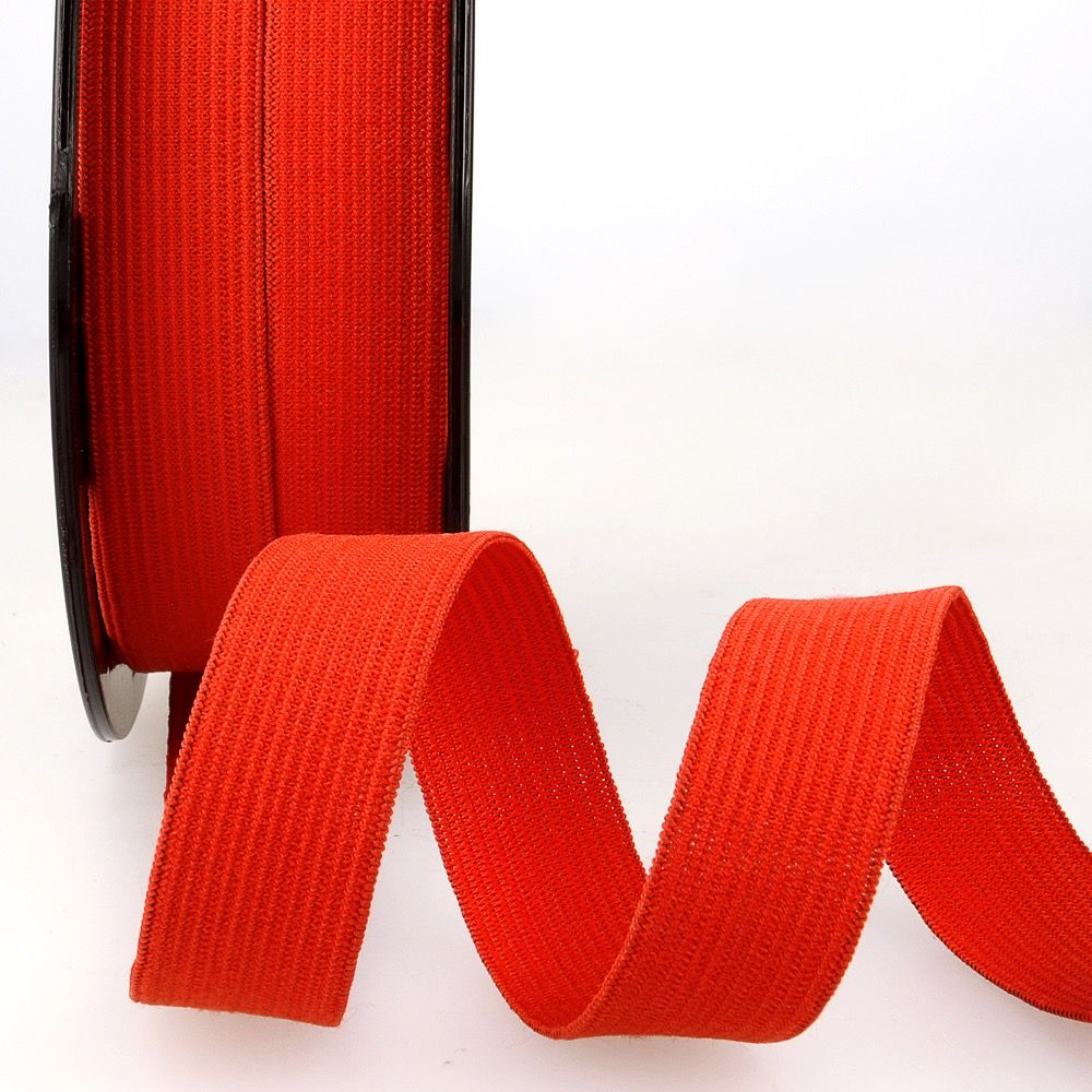 Woven Ribbon Elastic - 10mm Wide - Red