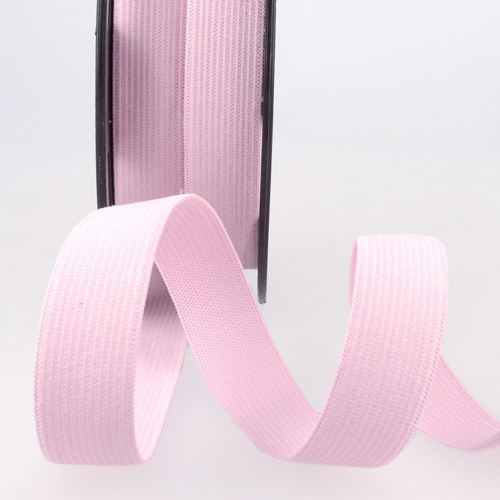 Woven Ribbon Elastic - 25mm Wide - Pink