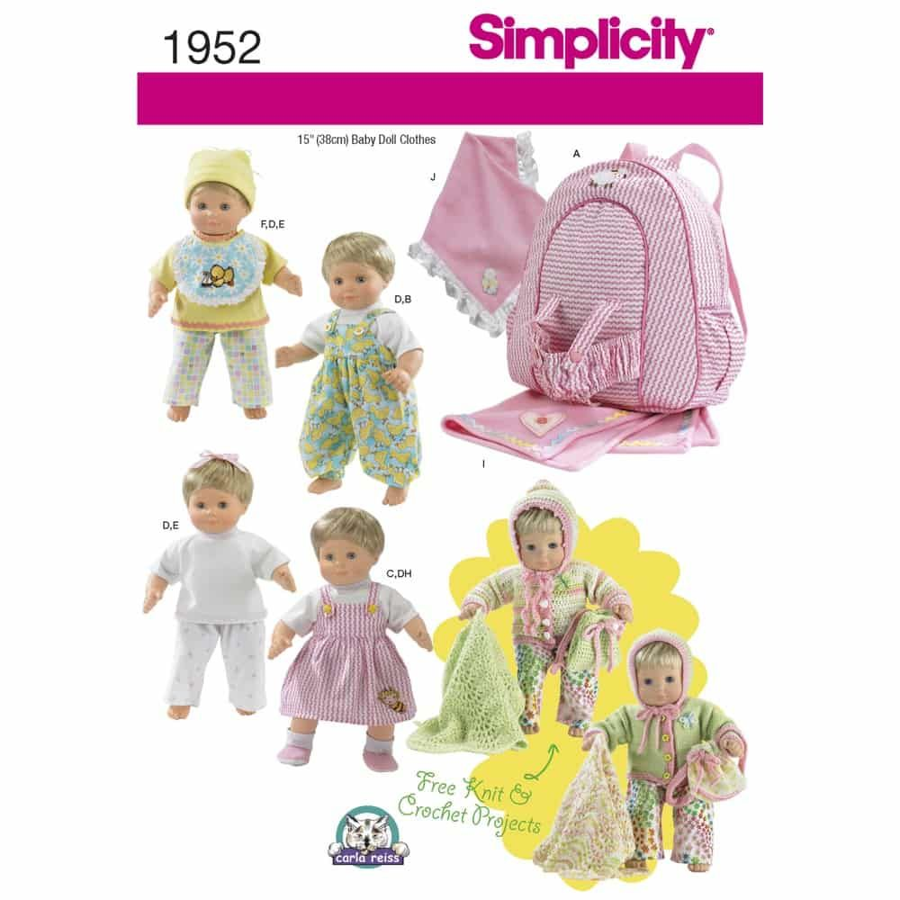 Simplicity Sewing Pattern 1952 Doll Clothes & Accessories