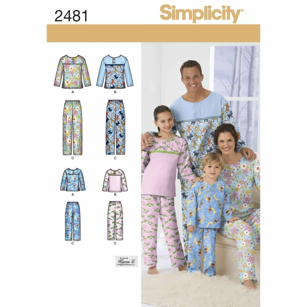 Simplicity Sewing Pattern 2481 Adult/Teen/Child Sleepwear