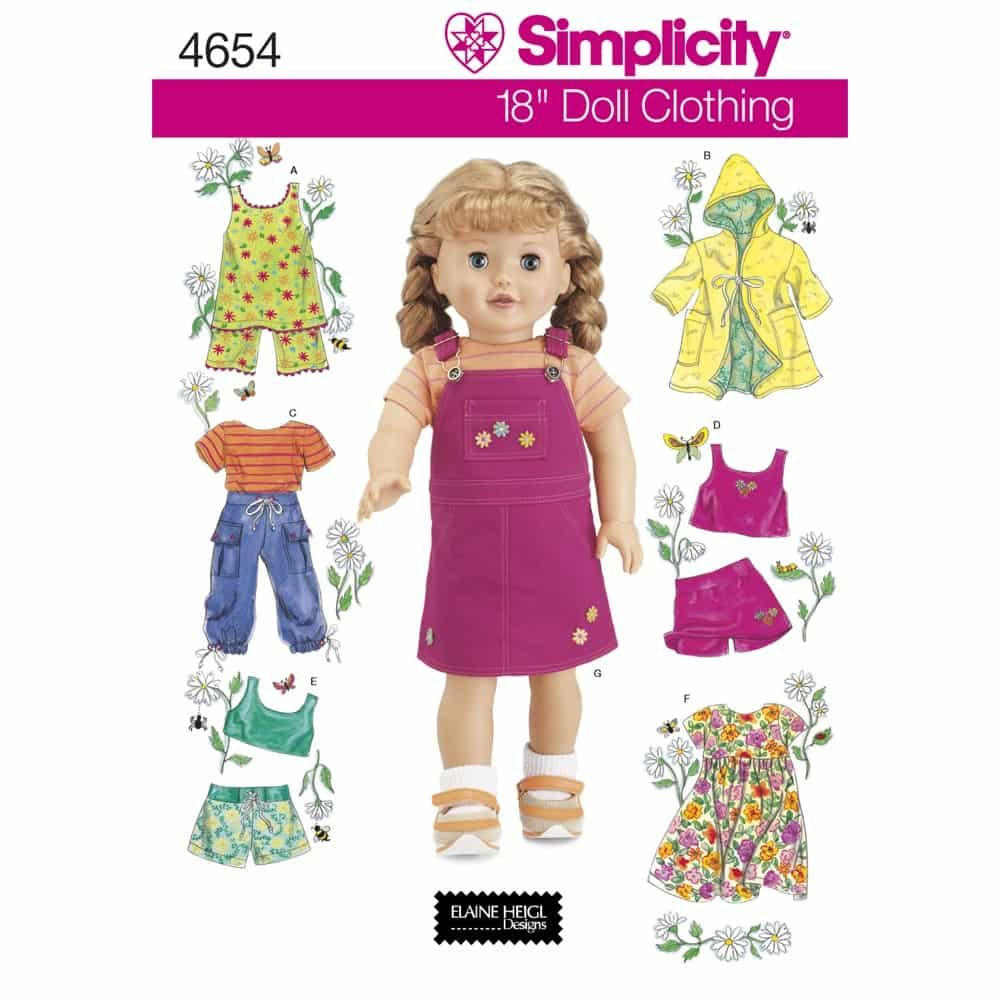 Simplicity Sewing Pattern 4654 Doll Clothes