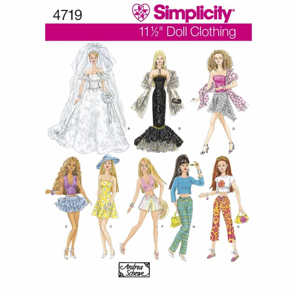Simplicity Sewing Pattern 4719 Doll Clothes