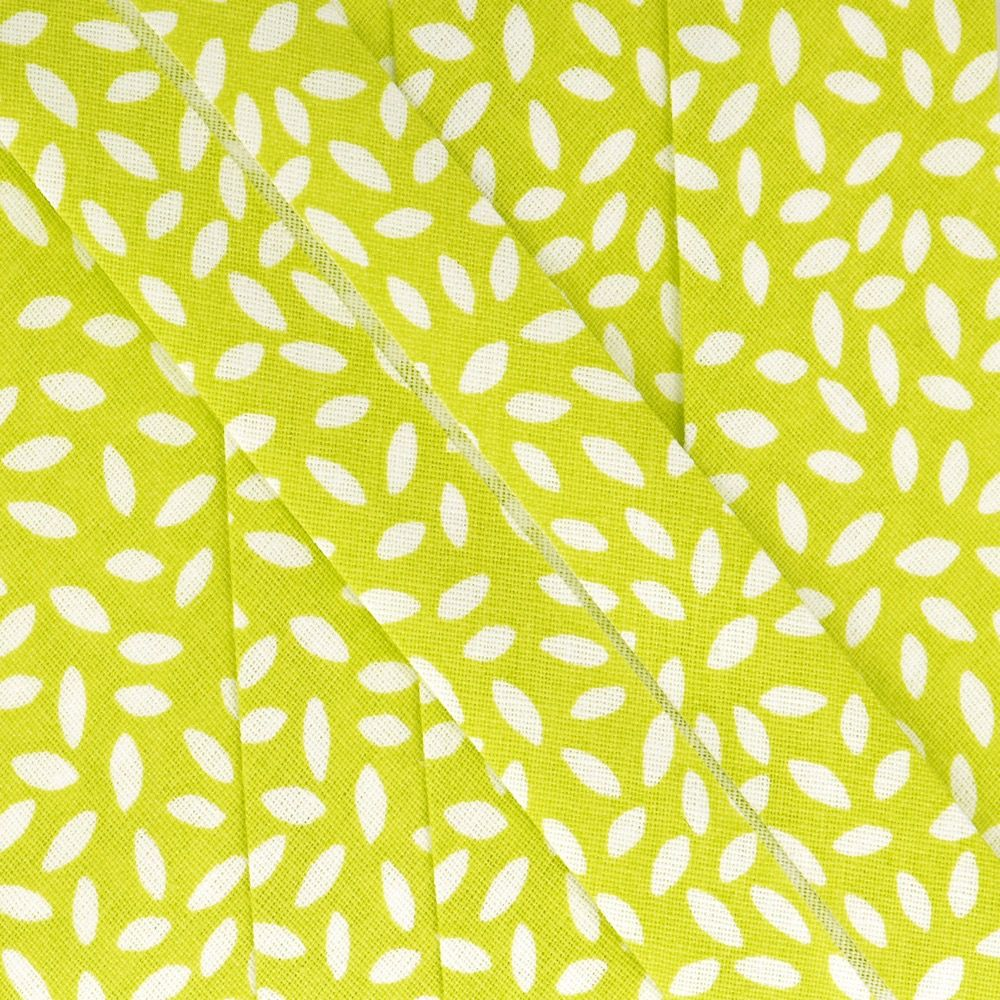 La Stephanoise 27mm Cotton Bias Binding - Leaves On Anise Green