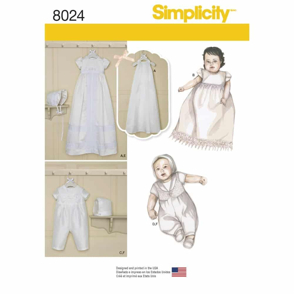 Simplicity Sewing Pattern 8024 Babies Christening Sets with Bonnets