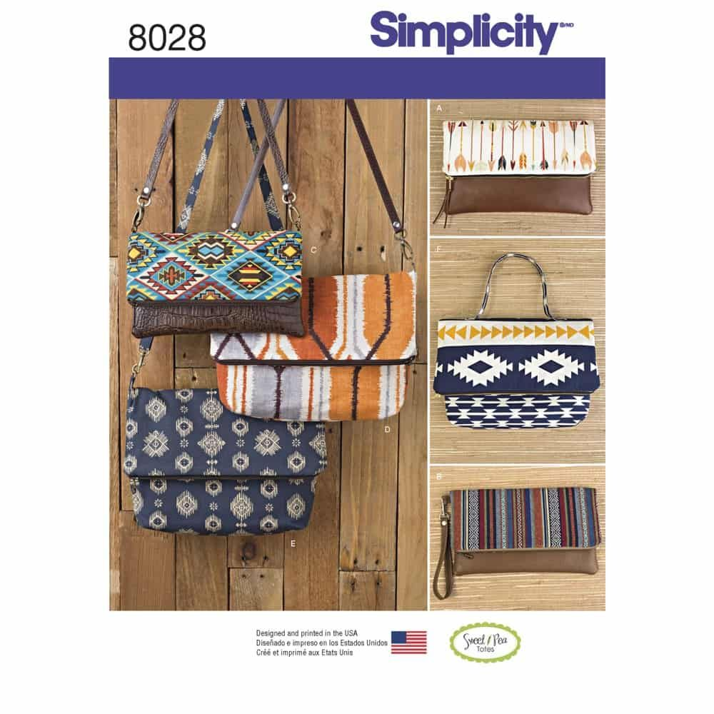 Simplicity Sewing Pattern 8028 Clutch, Wristlet and Purse in Two Sizes