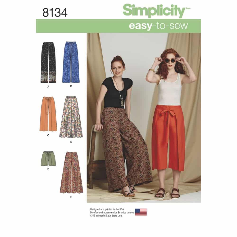 Simplicity Sewing Pattern 8134 Simplicity Pattern 8134 Misses Easy-to-Sew Trousers and Shorts