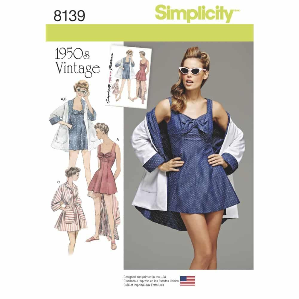 Simplicity Sewing Pattern 8139 Simplicity Pattern 8139 Misses Vintage Bathing Dress and Beach Coat