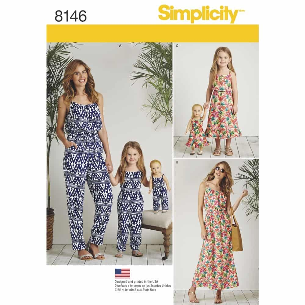 Simplicity Sewing Pattern 8146 Matching outfits for Misses, Child and 18inch Doll