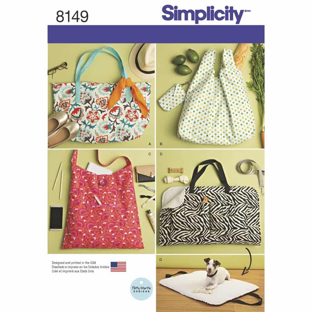 Simplicity Sewing Pattern 8149 Totes and Dog Travel Bed
