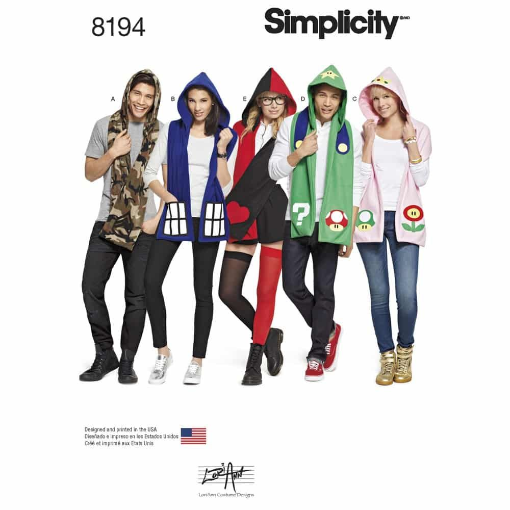 Simplicity Sewing Pattern 8194 Misses, Mens and Teens Hooded Scarves with Appliques