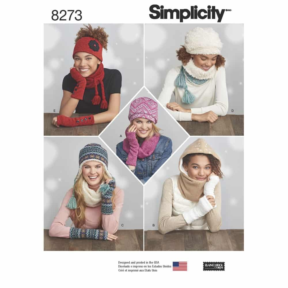 Simplicity Sewing Pattern 8273 Misses Knit Cold weather Accessories