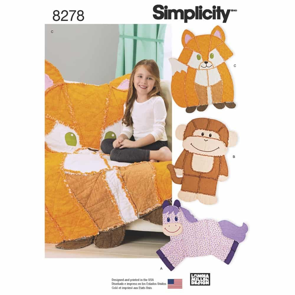 Simplicity Sewing Pattern 8278 Animal Rag Quilts