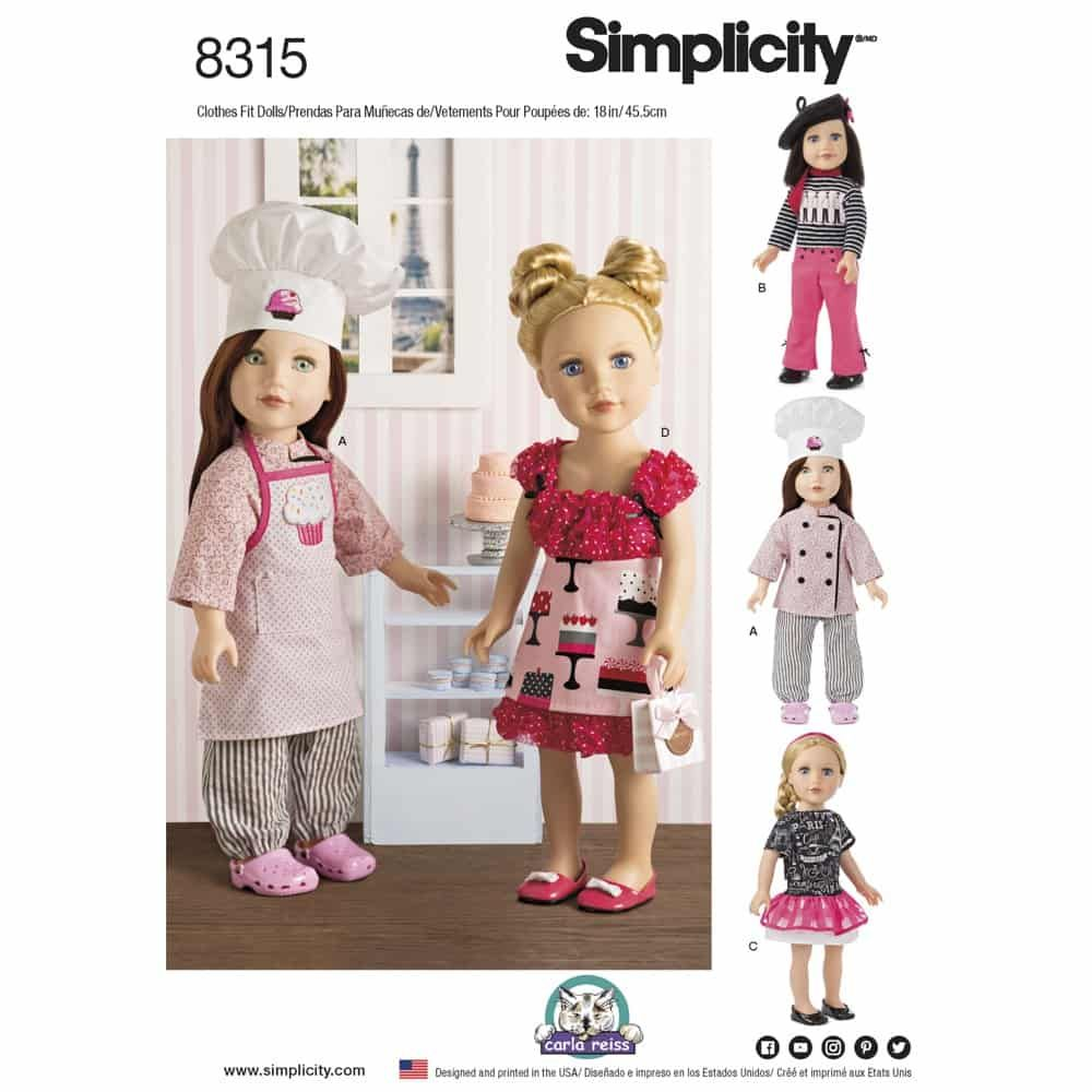 Simplicity Sewing Pattern 8315 18inch Chef Doll Clothes