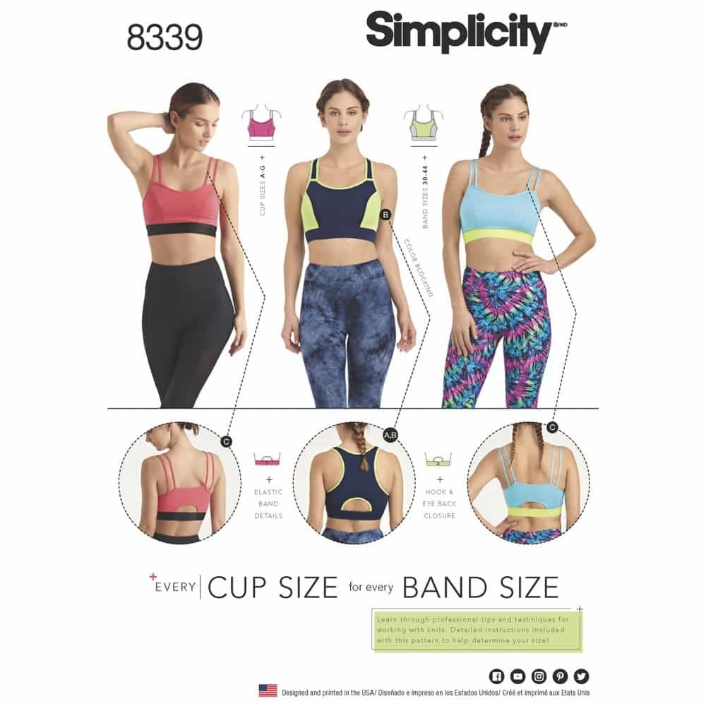 Simplicity Sewing Pattern 8339 Misses Knit Sports Bras