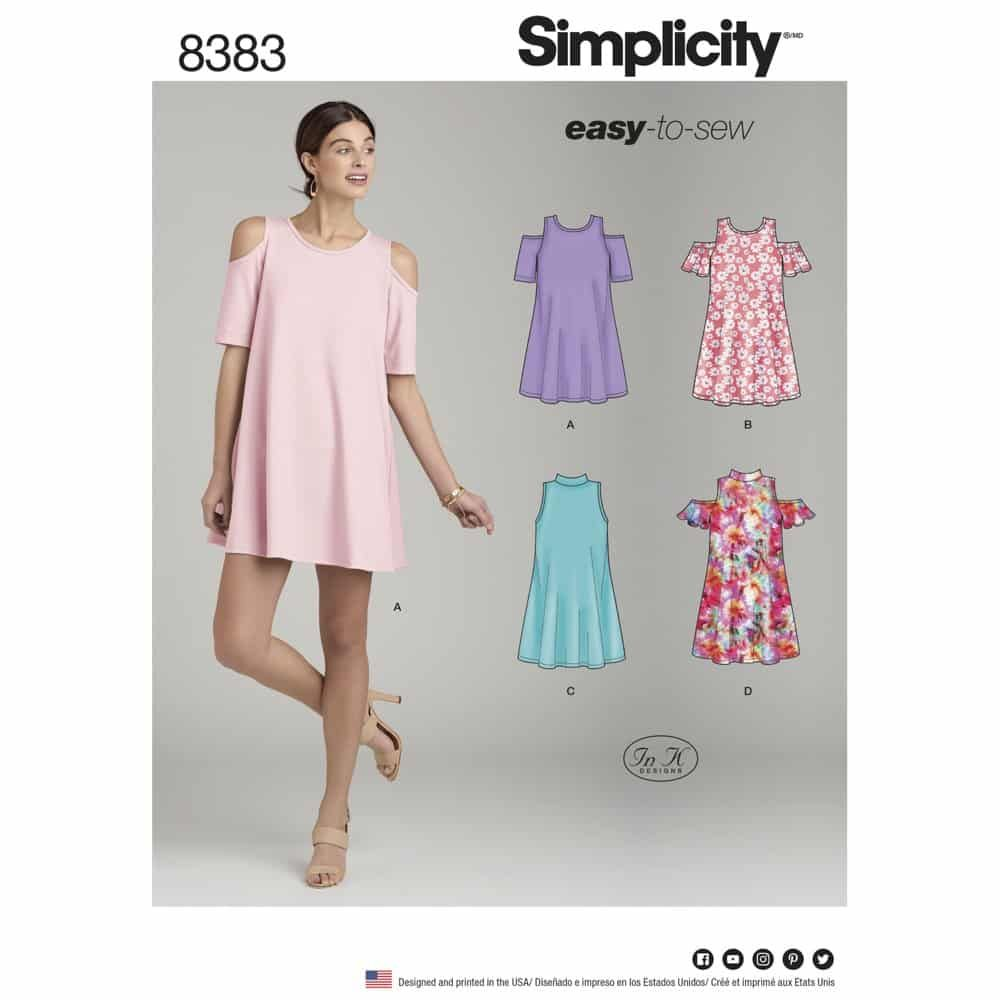 Simplicity Sewing Pattern 8383 Womens Knit Trapeze Dress with Neckline and Sleeve Variations
