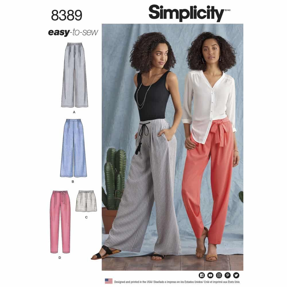 Simplicity Sewing Pattern 8389 Womens Pants with Length and Width Variations and Tie Belt