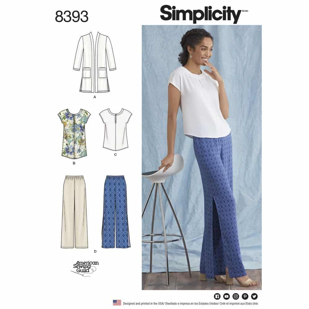 Simplicity Sewing Pattern 8393 Womens and Plus Size Pants, Tunic or Top, and Knit Cardigan