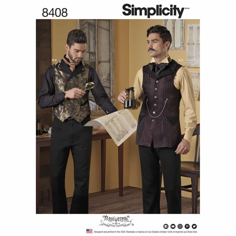 Simplicity Sewing Pattern 8408 Mens Shirt and Vest