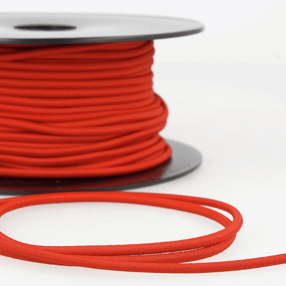 Round Rayon Elastic Cord - 3mm Wide - Red