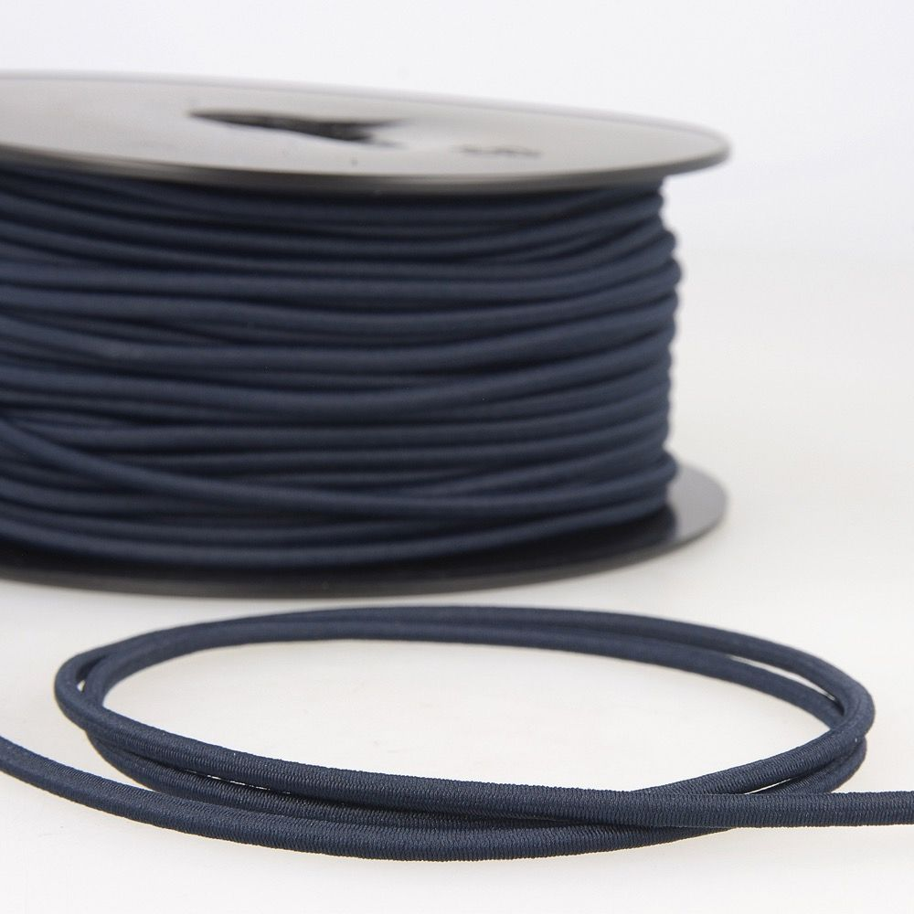 Round Rayon Elastic Cord - 3mm Wide - Navy