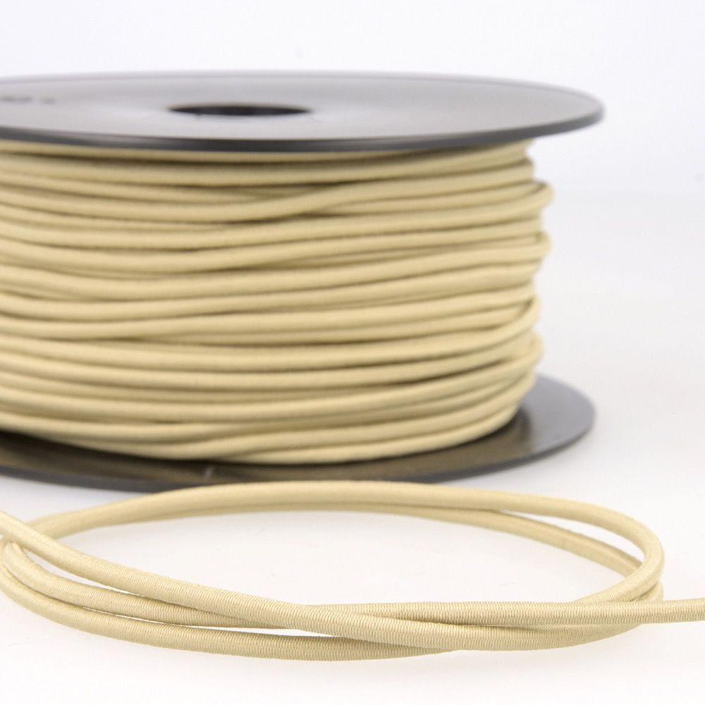 Round Rayon Elastic Cord - 3mm Wide - Taupe