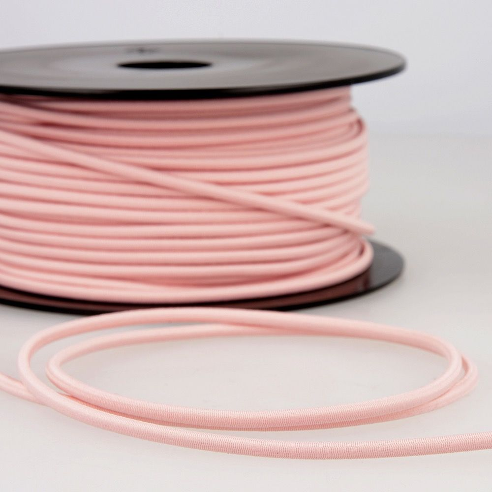 Round Rayon Elastic Cord - 3mm Wide - Light Pink
