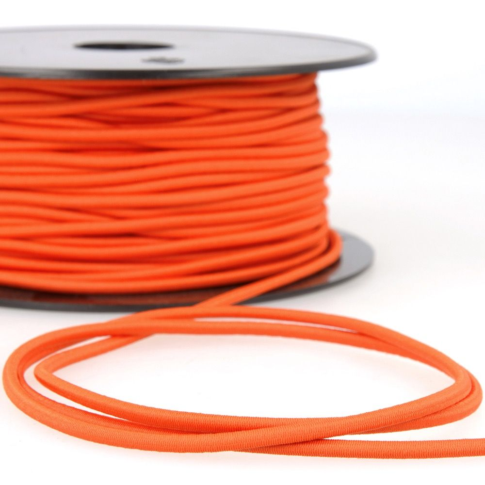 Round Rayon Elastic Cord - 3mm Wide - Orange