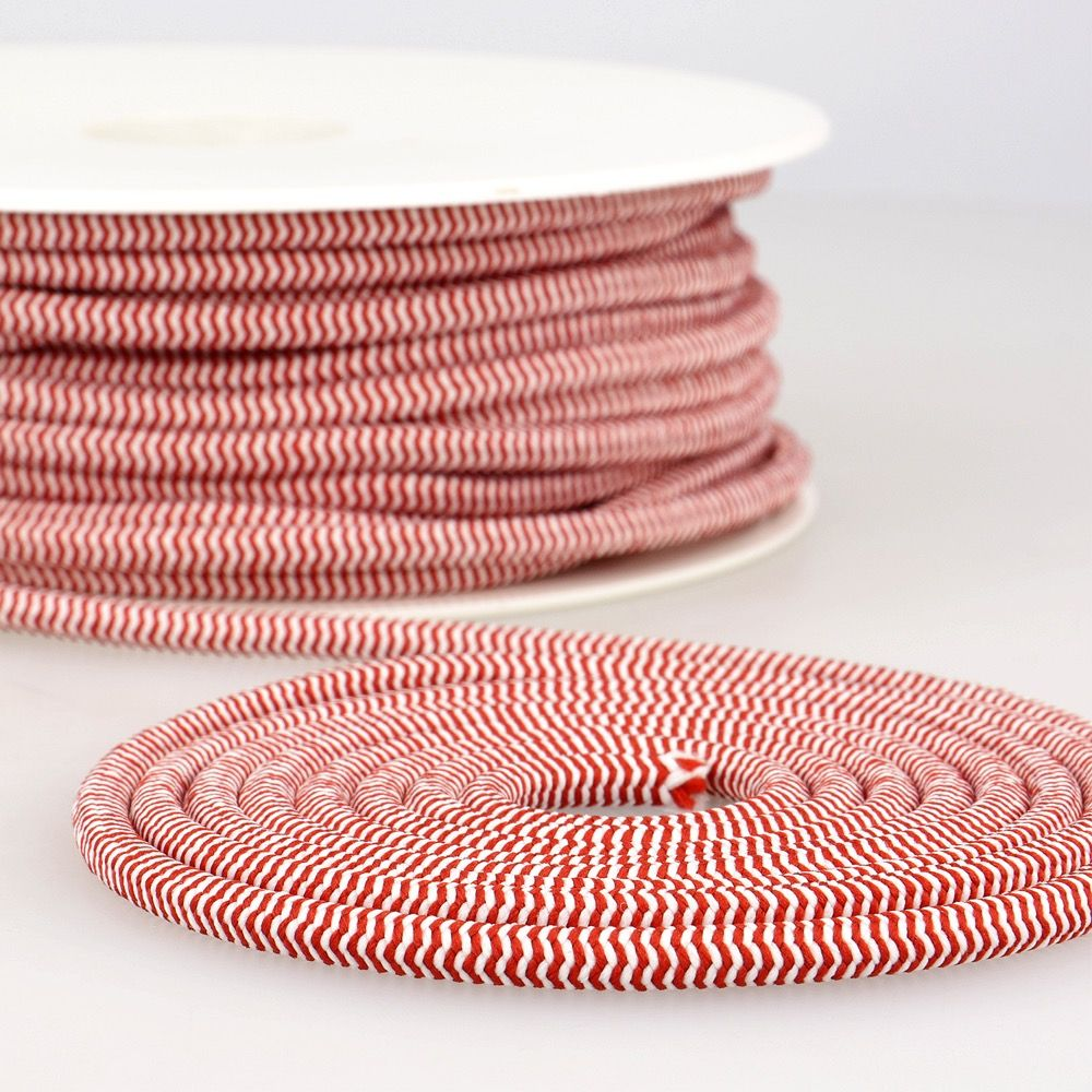 Round Two Tone Elastic Cord - 5mm Wide - Red/White