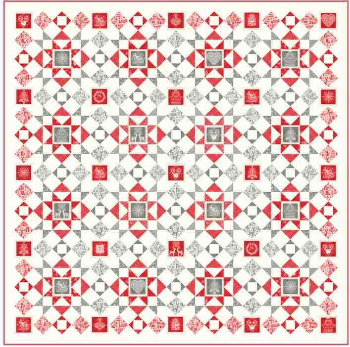 Makower Christmas 2019 Panel Quilt - Scandi 2019 - Free Download