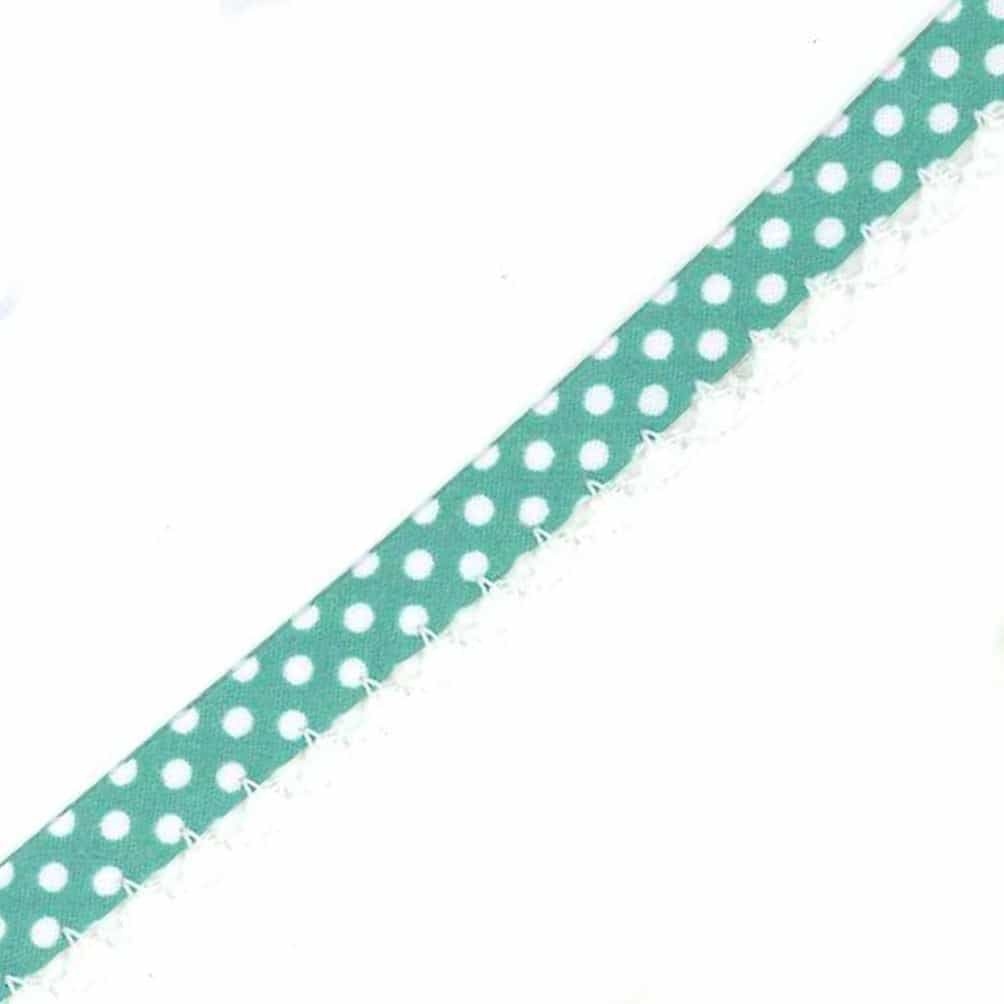 12mm Bias Binding Double Folded Lace Edged Seafoam With White Polka Dots - 5 Metre Pack