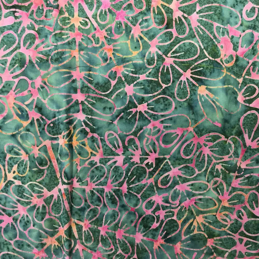 Sew Simple Batik - Batik - Leaf Outline Pink
