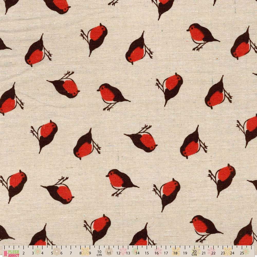 Cotton Fabric - Linen Look Canvas - Robins On Natural