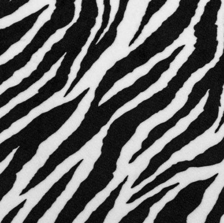 Remnant - Shannon Plush Cuddle Animal Print Fabric - Zebra Black & Snow White - 50cm x 75cm