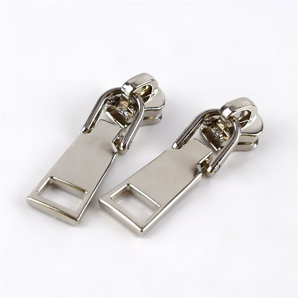 Metal Replacement Zip Pull - For #5 Nylon Zips - Nickel Metal Pull