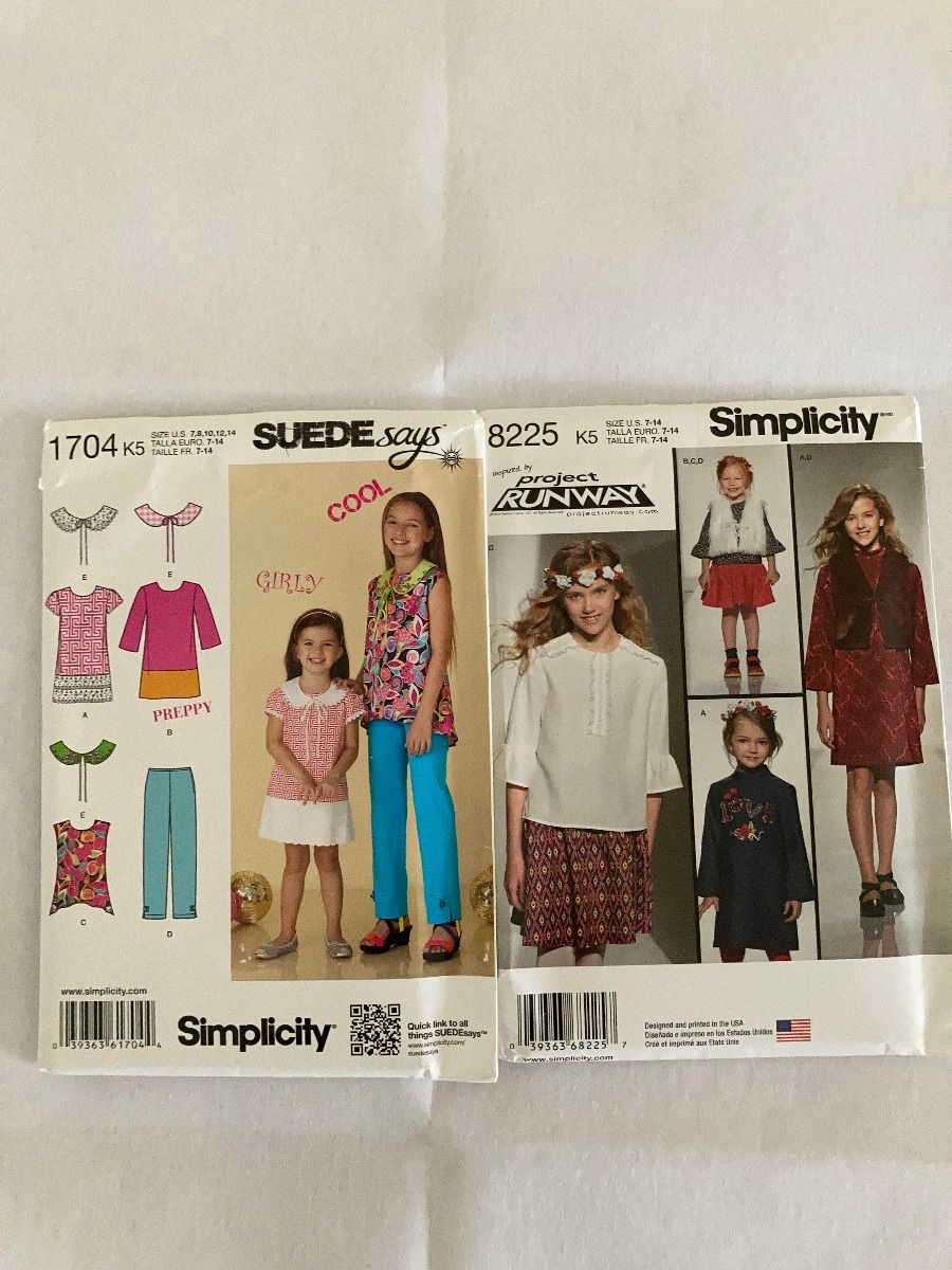 Remnant - 2 x Simplicity Patterns -K5 (7,8,10,12,14 )-  End of Line