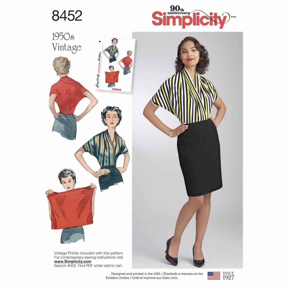Simplicity Sewing Pattern 8452  Women_s Vintage Knit Blouse