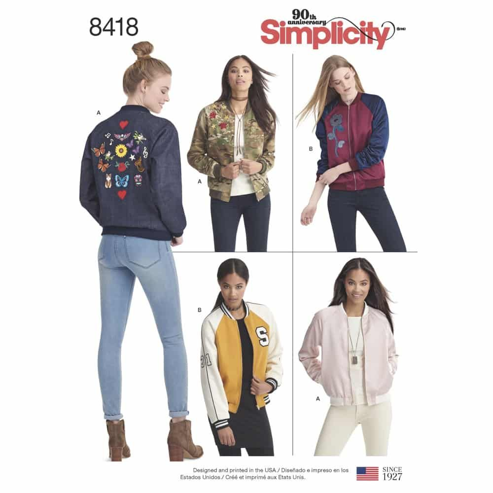 Simplicity Sewing Pattern 8418  Misses' Lined Bomber Jacket with Fabric & Trim Variations