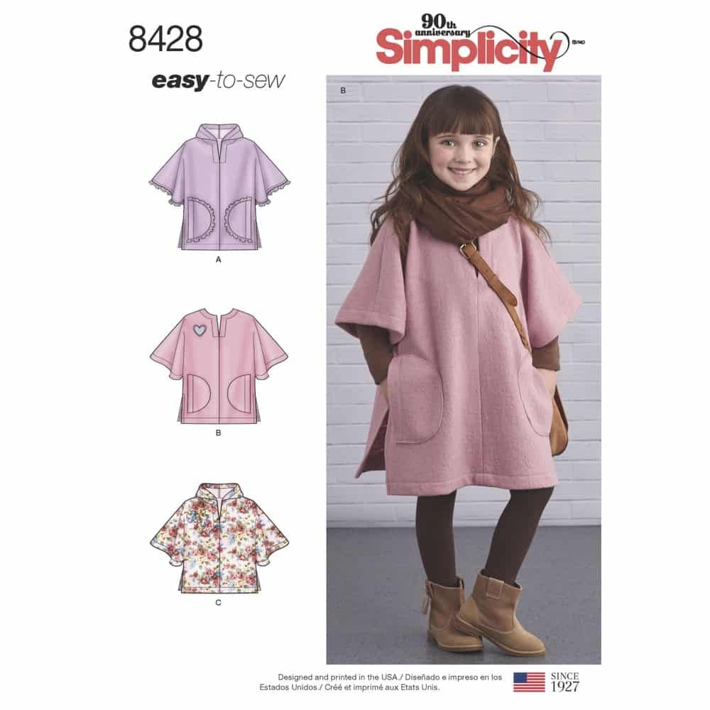 Simplicity Sewing Pattern 8428  Child's Poncho in Two Lengths