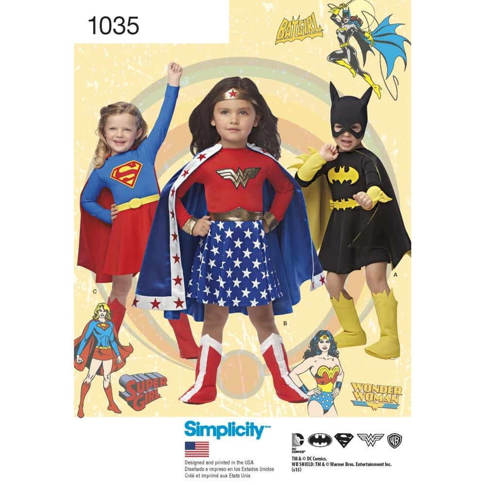 Simplicity Sewing Pattern 1035 - Childs Wonder Woman, Supergirl & Batgirl Costumes