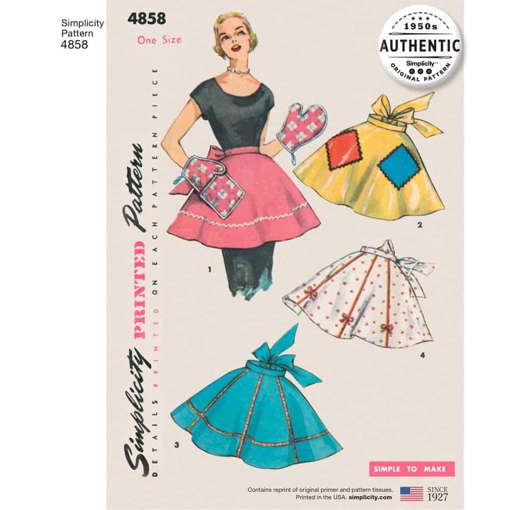Simplicity Sewing Pattern 4858 - One Size One Yard Vintage Apron Plus Mitts